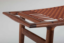 Details of Leather Laced Single Seat Bench in Walnut