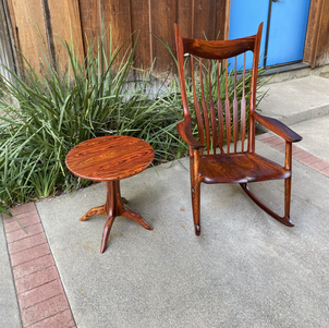 Cocobolo Rocking Chair & Pedestal Table