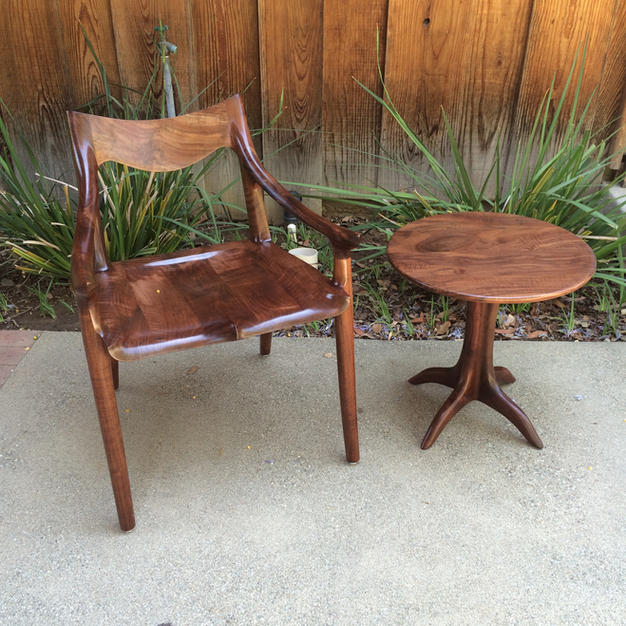 Walnut Lowback Chair & Pedestal Table