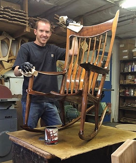 Stephen oiling a Rocking Chair