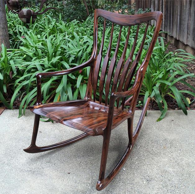 "Ziricote ""Beverly Style"" Rocking Chair"