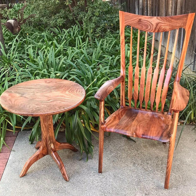 Avocado Wood Occasional Chair & Pedestal Table