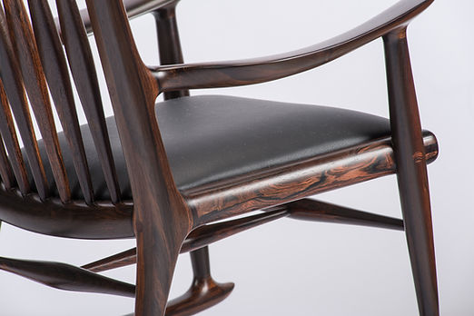 Details of Child's Rocking Chair in Brazilian Rosewood/Black Leather