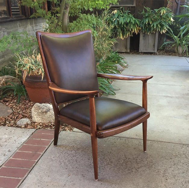 Walnut/Brown Leather Upholstered Living Room Chair