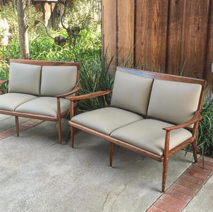 Walnut/Gray Leather Upholstered Settees