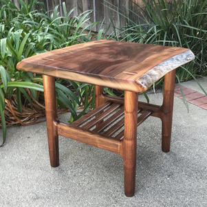 Natural Edge Slab Top End Table