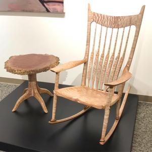 Figured Maple Rocking Chair & Burl Top Pedestal Table