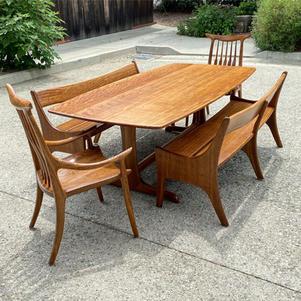 Brown Oak Dining Set