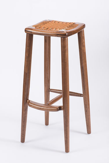 Leather Laced Bar Stool in Walnut