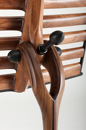 Details of Music Stand in Walnut with Exotic Wood Accents