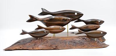 Macassar Ebony/Walnut Base Fish Sculpture