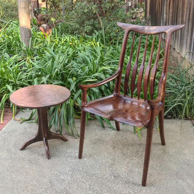 Claro Walnut Horback Chair & Pedestal Table
