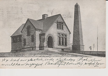 An old postcard depicting the original Bill Memorial Library