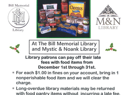 Food For Fines Month @ the Bill Memorial Library & the Mystic & Noank Library