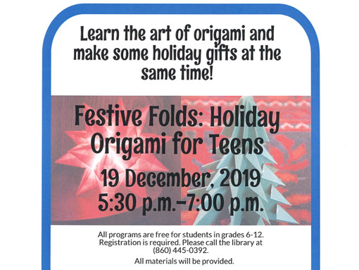 Teens— Join the Bill Memorial Library for Festive Folds: Holiday Origami for Teens