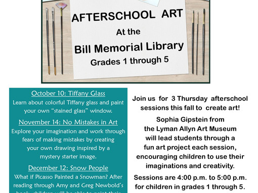 AfterSchool Art presented by the Lyman Allyn Museum @ The Bill Memorial Library