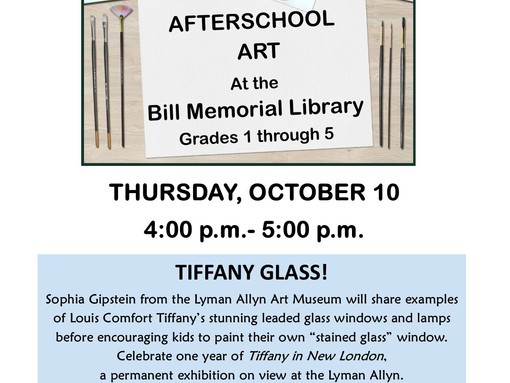 The Lyman Allyn Art Museum Invites Children to Create Tiffany Glass Art!