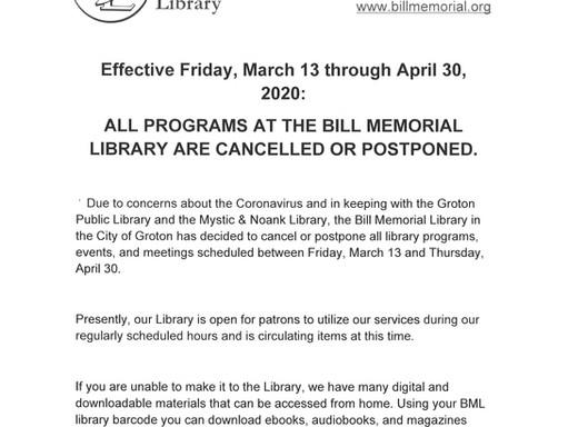Bill Memorial Library - Coronavirus Update