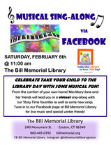 """Virtual Musical Sing-Along for """"Take the Library to Your Child Day"""""""
