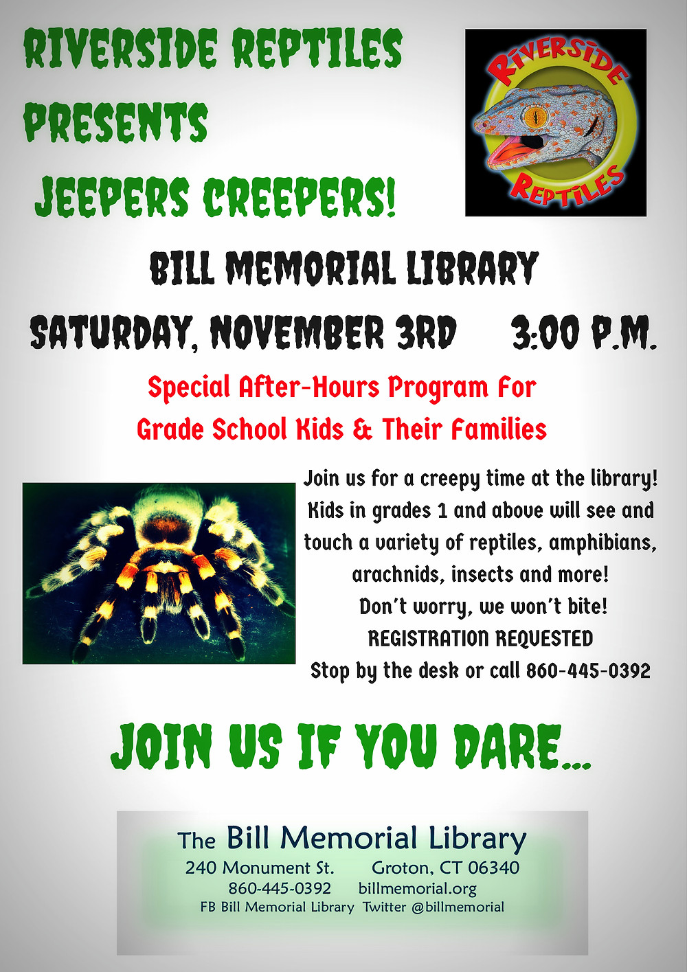 Jeepers Creepers Program November Third at Three O'Clock