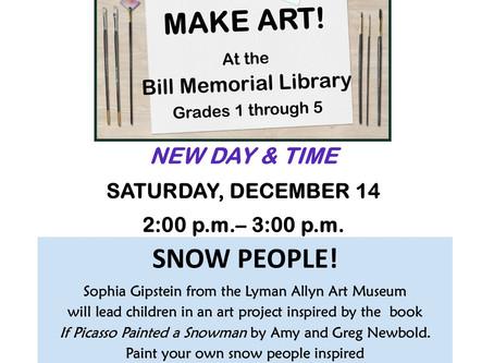 Create Snow People @ Bill Memorial Library, presented by Lyman Allyn Art Museum