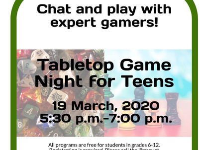 Teens! Come and Play Games @ Bill Memorial Library!