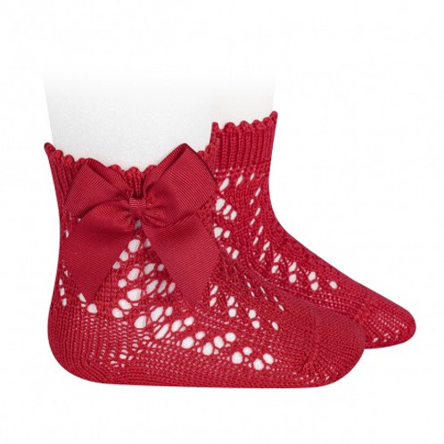 Crochet Socks with Bow Red Condor