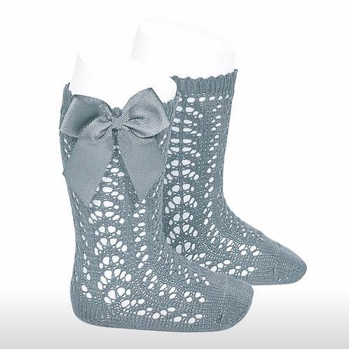 Girls Crochet High Socks w/Bow Condor  DRY GREEN