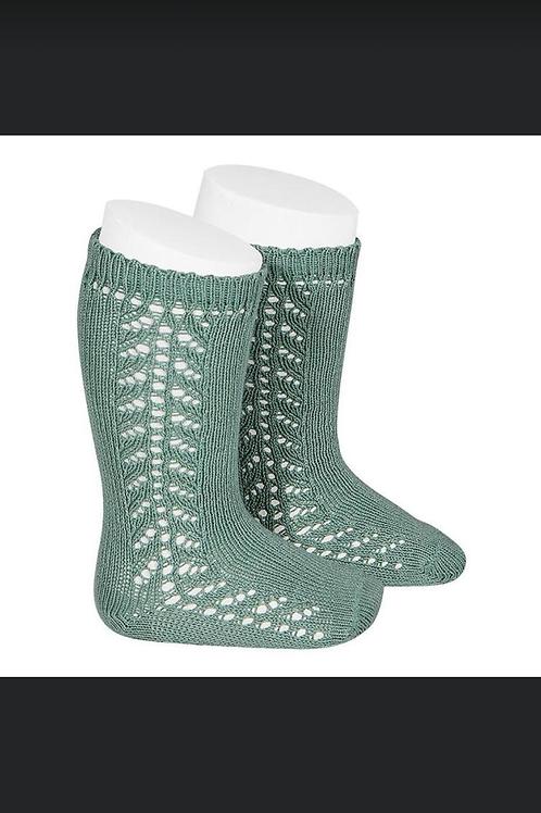 Knee Socks side crocheted Mint Green Condor