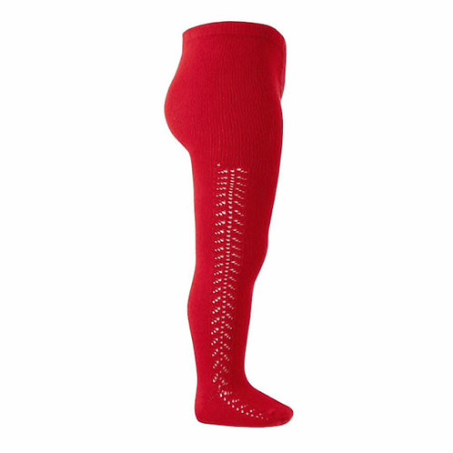 Girls Crochet Tights Condor Red