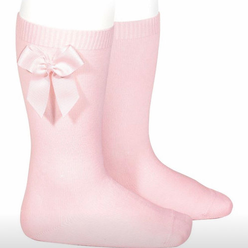 Girls Knee Socks 1 w/ Bow Condor Pink