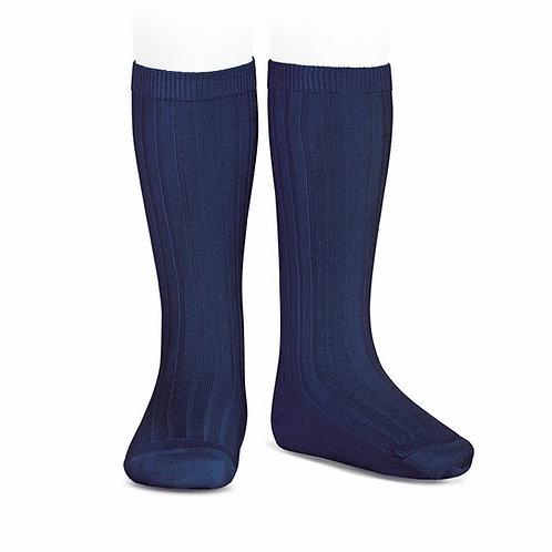 Blue Navy Ribbed High Socks Condor.
