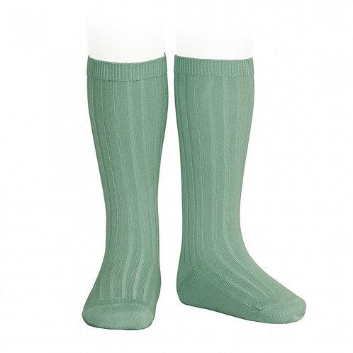 Green Ribbed High Socks Condor.