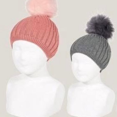 Girls and Boys HAT ribbed with faux fur pom pom Condor