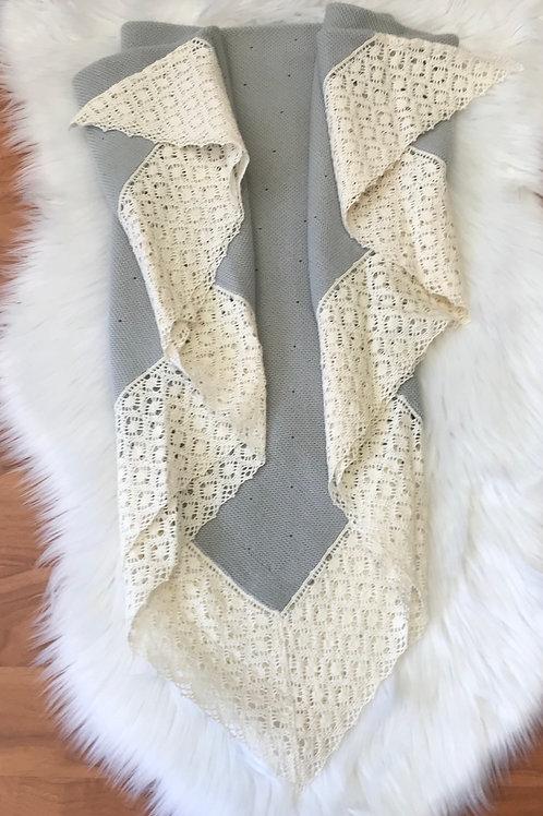 Grey  Knitted Blanket Grey & Ivory. Paz Rodriguez