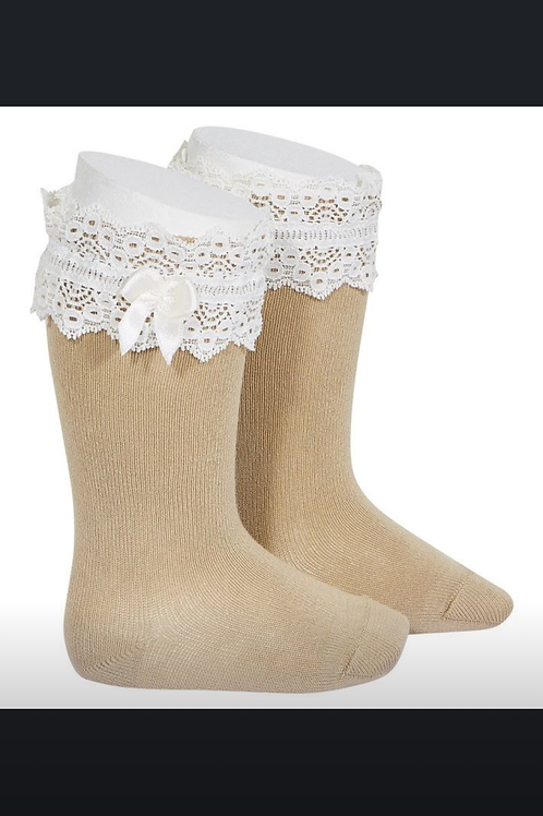 Girls Knee Lace Socks w/Bow Condor