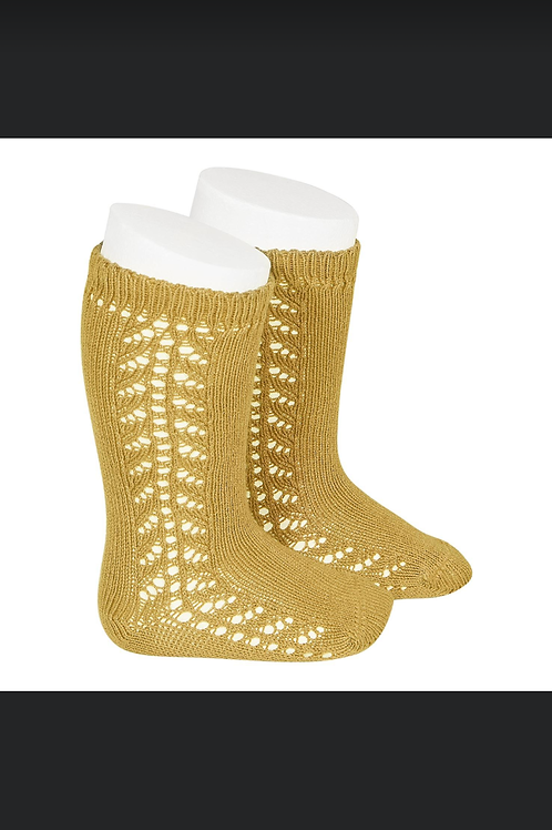 Copy of Knee Socks side crocheted (Mustard) Condor