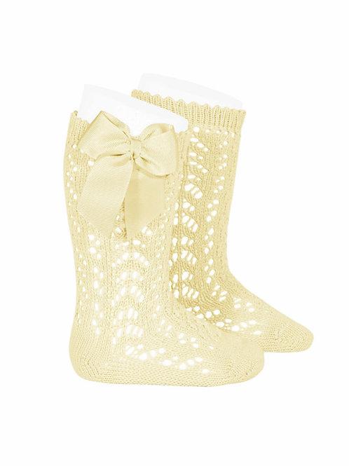 Girls Crochet high socks w/bow LIMONCELLO