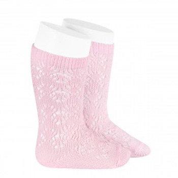 Crochet Patterned Pink High Socks