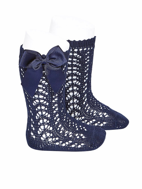 Girl Crochet High Socks w/Bow Condor NAVY