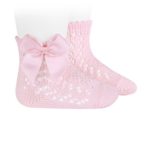 Crochet Socks with Bow Pink Condor