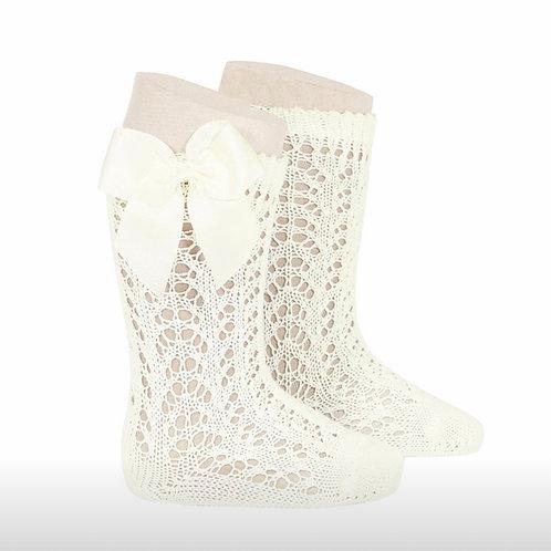 Girls Crochet High Socks w/Bow   IVORY