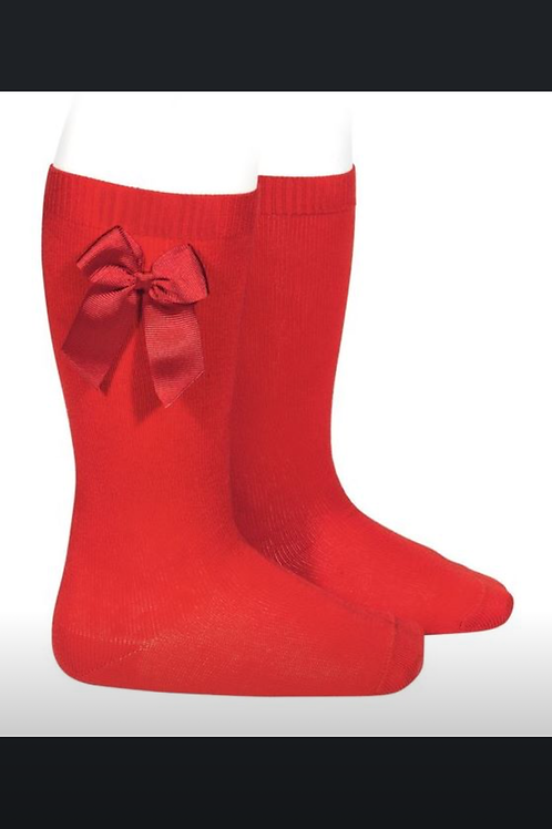 Girls Knee Socks w/Bow Condor Red