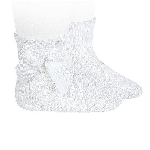 Crochet Socks with Bow White Condor