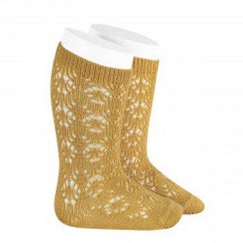 Crochet Patterned Mustard High Socks Condor
