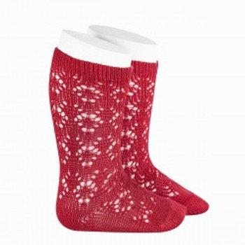 Crochet Patterned Red High Socks Condor