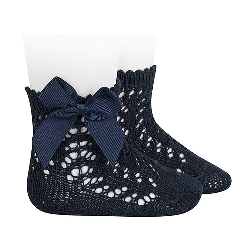 Crochet Socks with Bow Navy Condor