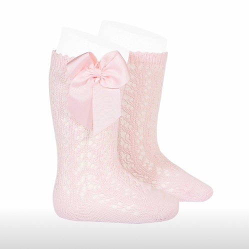 Girls P crochet high Socks w/bow Condo Pink