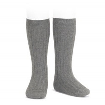 Grey Ribbed High Socks Condor.
