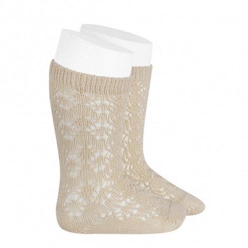 Crochet Patterned Beige High Socks Condor